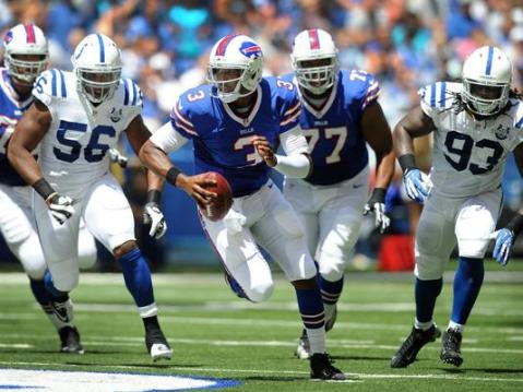 Photo Credit: USAToday  EJ Manuel running for a first down against the Colts.